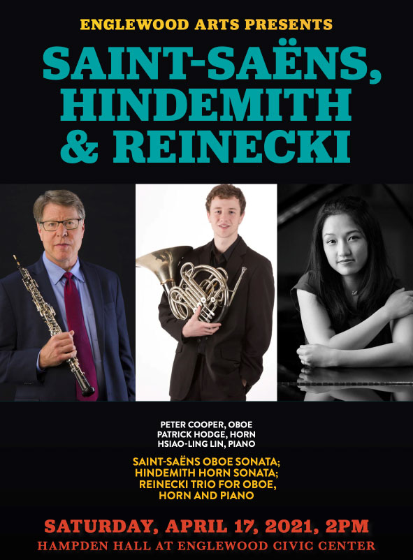 Apr. 17 - Chamber Music of the Masters - Saint-Saëns, Hindemith & Reinecki @ Hampden Hall in the Englewood Civic Center